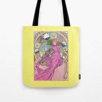 mucha Tote Bags featuring Mucha Bubblegum by Joyia Kelly