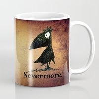 edgar allen poe Mugs featuring Nevermore! The Raven - Edgar Allen Poe by Paul Stickland for StrangeStore