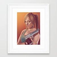 lara croft Framed Art Prints featuring Lara Croft by S. H.