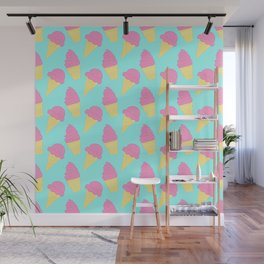 Pink Ice Cream on Blue Wall Mural