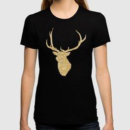 Golden Deer Head Red Background T-shirt
