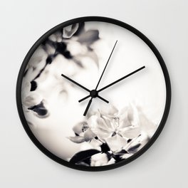 Black and White Flowers 2 Wall Clock