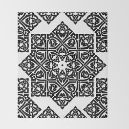 Celtic Knot Ornament Pattern Black and White Throw Blanket