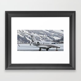 Private Jet & Snowy Mountains Framed Art Print