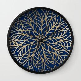 Modern chic navy blue faux gold floral mandala Wall Clock