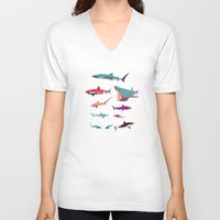 sharks V-neck T-shirts featuring Sharks by Simon Alenius
