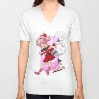 madoka V-neck T-shirts featuring Merry Christmas Madoka Kaname by Neo Crystal Tokyo