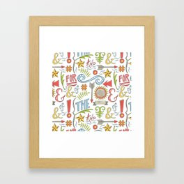 pattern of hand drawn typographic elements Framed Art Print