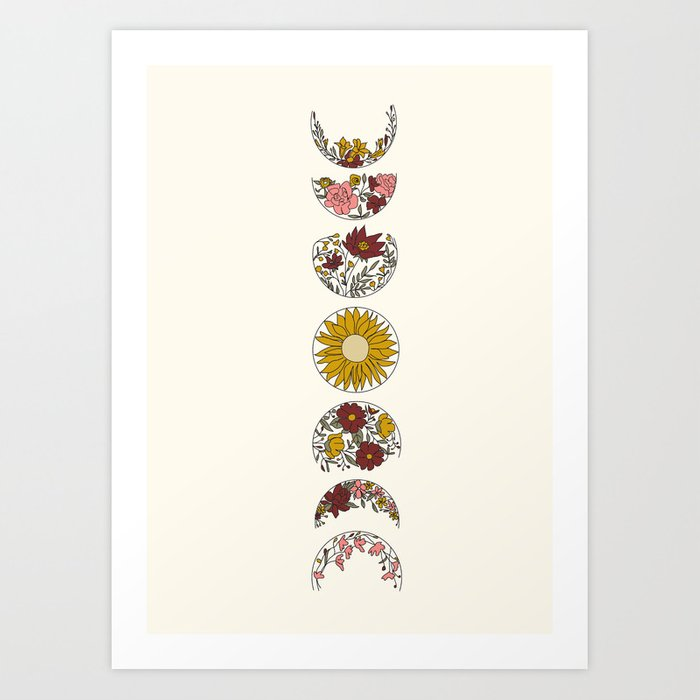 Floral Phases of the Moon Art Print