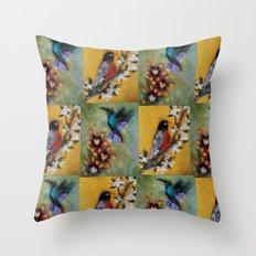 Hummingbird and Robin Throw Pillow