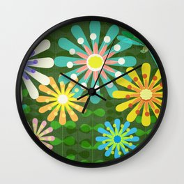 In The Garden Among The Flowers Wall Clock