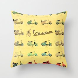 1969 Vintage Vespa Motor Scooter 1946 to 1969 Advertisement Model Poster Throw Pillow