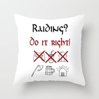 vikings Throw Pillows featuring Raiding 1, Vikings by ZsaMo Design