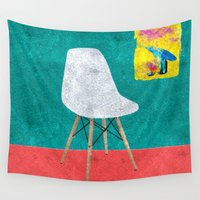eames Wall Tapestries featuring Eames Chair  by Xchange Art Studio