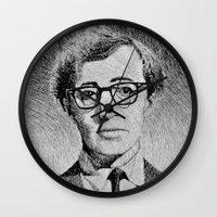 woody allen Wall Clocks featuring Woody Allen portrait  by Nicolas Jolly
