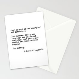 The beauty of all literature - F Scott Fitzgerald Stationery Cards