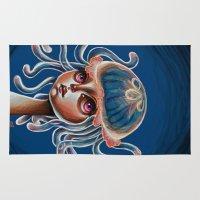 surrealism Area & Throw Rugs featuring Jellyfish Head pop Surrealism Illustration by Kristin Frenzel