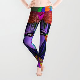 Don't Be a Hummer- Woman and Hummingbird Feminist Portrait Leggings