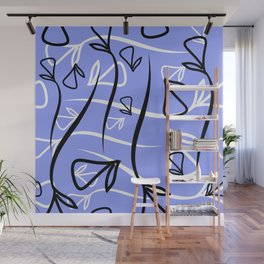 Geometric pattern made from plant black and white elements on a lead background. Wall Mural