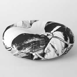Black monstera leaves watercolor Floor Pillow