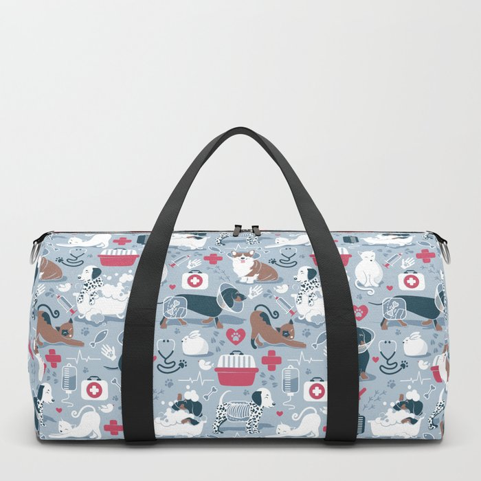 Veterinary medicine, happy and healthy friends // pastel blue background Duffle Bag