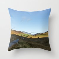 cassia beck Throw Pillows featuring Views from Keskadale and Keskdale Beck back down the Pass. Lake District, UK. by liamgrantfoto
