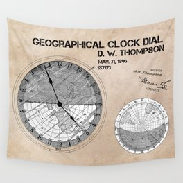 Geographical clock dial Thompson patent art Wall Tapestry