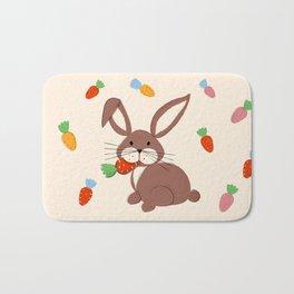 Cute Bunny and Carrots Bath Mat