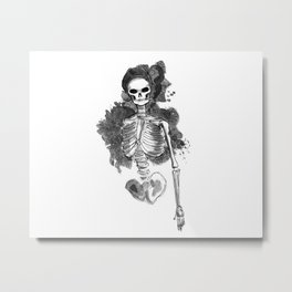 Smoking Skeleton Metal Print