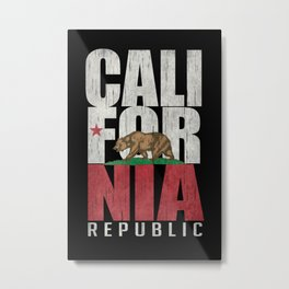 Cali Bear Flag with deep distressed textures Metal Print