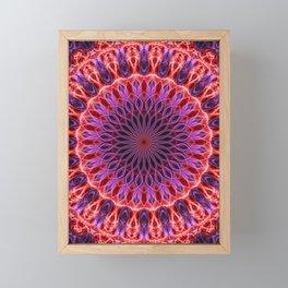 Glowing pink and red mandala Framed Mini Art Print