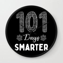 101 Days Smarter Dalmatian Dog Paw Wall Clock