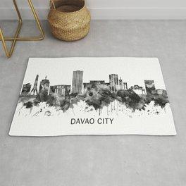Davao City Philippines Skyline BW Rug