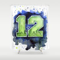 seahawks Shower Curtains featuring 12th Man Seahawks Seattle Go Hawks Art by Olechka