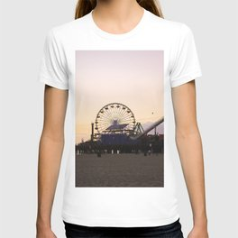 Pastel Sunset At Santa Monica Pier Los Angeles California Art Photo Print | Travel Photography T-shirt