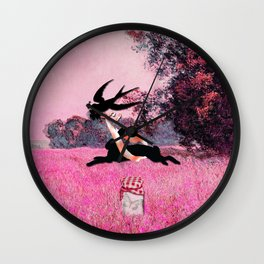 Pink Whimsical cute rabbit, bird vector on field collage Wall Clock