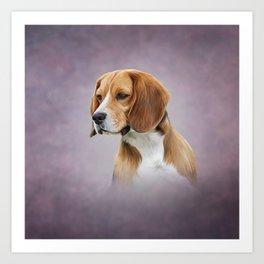 Drawing Dog Beagle 11 Art Print