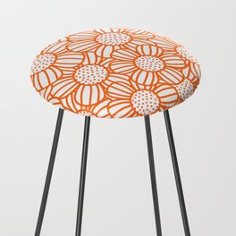 Field of daisies - orange Counter Stool