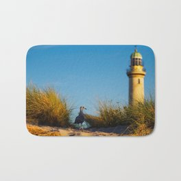 Old lighthouse from Hanseatic city of Rostock Bath Mat