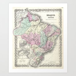 Vintage Map of Brazil (1855) Art Print