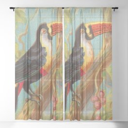 Toco Toucan Birds of the Tropics Series by A&G Sheer Curtain