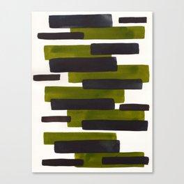 Olive Green Primitive Stripes Mid Century Modern Minimalist Watercolor Gouache Painting Colorful Str Canvas Print