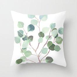 Eucalyptus Leaves Botanical Print Throw Pillow