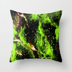 Galaxy (green) Throw Pillow