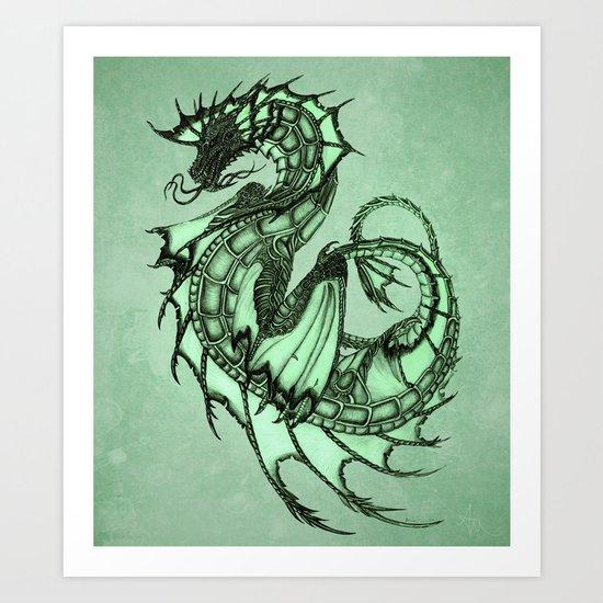 """Tsunami"" by Amber Marine ~ Sea Dragon (Jade Version) ~ Graphite & Charcoal Illustration, (c) 2005 Art Print"