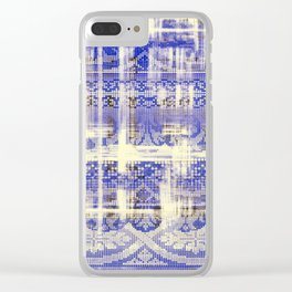 needlepoint sampler in blues Clear iPhone Case