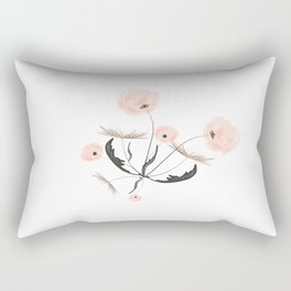 Sweet dandelions in pink - Floral Watercolor illustration with Glitter Rectangular Pillow