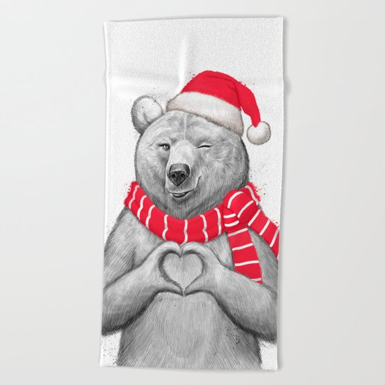 christmas bear #2 Beach Towel