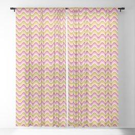 Bargello waves golden yellow pink Sheer Curtain