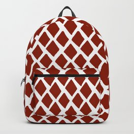 Rhombus Red And White Backpack